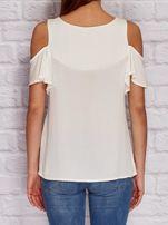 Ecru koszula z falbanami na rękawach PLUS SIZE                                  zdj.                                  2