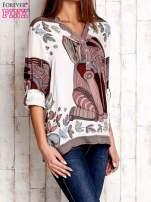 Ecru koszula z roślinnym nadrukiem                                                                          zdj.                                                                         3