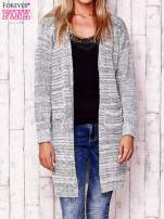 Ecru melanżowy otwarty sweter                                   zdj.                                  1