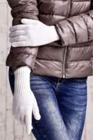 Ecru rękawiczki z długim ściągaczem                                  zdj.                                  3