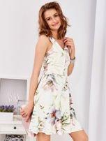 Ecru rozkloszowana sukienka w malarskie roślinne wzory                                  zdj.                                  8