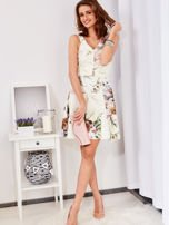 Ecru rozkloszowana sukienka w malarskie roślinne wzory                                  zdj.                                  12