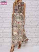 Ecru sukienka maxi w ornamentowe wzory z koronką z tyłu