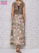 Ecru sukienka maxi w ornamentowe wzory z koronką z tyłu                                                                          zdj.                                                                         4