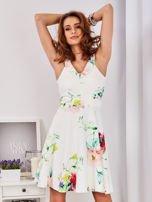 Ecru sukienka w kolorowe kwiaty                                  zdj.                                  9