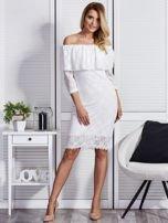 Ecru sukienka z hiszpańskim dekoltem                                  zdj.                                  4