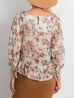 Ecru szyfonowa bluzka w kwiaty                                  zdj.                                  2