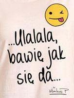 Ecru t-shirt damski BAWIĘ JAK SIĘ DA by Markus P                                  zdj.                                  2