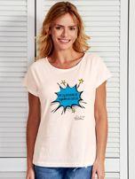 Ecru t-shirt damski PRZY WEEKENDZIE BYWAM WSZĘDZIE by Markus P                                  zdj.                                  1