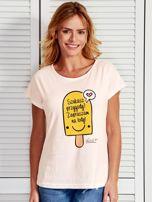 Ecru t-shirt damski SZUKASZ PRZYGODY? by Markus P                                  zdj.                                  1