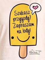 Ecru t-shirt damski SZUKASZ PRZYGODY? by Markus P                                  zdj.                                  2