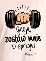 Ecru t-shirt damski ZOSTAW MNIE by Markus P                                  zdj.                                  2