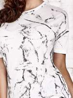 Ecru t-shirt w maziaje z dłuższym tyłem                                                                          zdj.                                                                         5