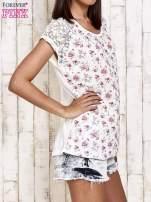 Ecru t-shirt w róże z koronką przy rękawach                                  zdj.                                  3