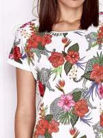 Ecru t-shirt z egzotycznym nadrukiem i ażurowym tyłem                                  zdj.                                  5