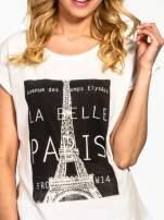 Ecru t-shirt z motywem Paryża