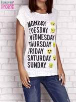 Ecru t-shirt z motywem dni tygodnia emoji weekday                                  zdj.                                  1