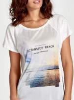 Ecru t-shirt z nadrukiem OCEANSIDE BEACH