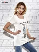 Ecru t-shirt z nadrukiem królika Funk n Soul                                  zdj.                                  3