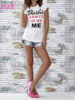 Ecru t-shirt z napisem BARBIE WANTS TO BE ME                                                                          zdj.                                                                         2