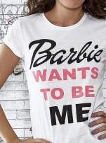 Ecru t-shirt z napisem BARBIE WANTS TO BE ME                                  zdj.                                  5