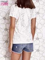 Ecru t-shirt z napisem BONJOUR                                  zdj.                                  4