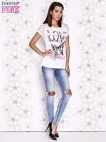 Ecru t-shirt z napisem LOVE i ażurowymi rękawkami                                  zdj.                                  4