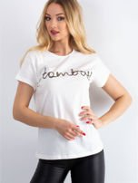 Ecru t-shirt z napisem z koralików                                   zdj.                                  4
