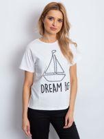 Ecru t-shirt z żaglówką                                  zdj.                                  1