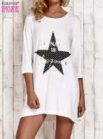 Ecru tunika dresowa z printem gwiazdy                                  zdj.                                  1