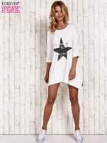 Ecru tunika dresowa z printem gwiazdy                                  zdj.                                  2