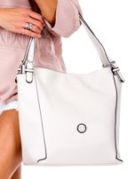 Elegancka ecru torba z eko skóry z logo                                  zdj.                                  2