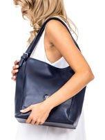 Elegancka granatowa torba z eko skóry z logo                                  zdj.                                  5