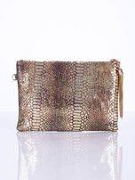 Elegancka kopertówka z motywem wężowej skóry złota                                  zdj.                                  2