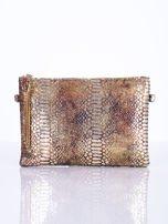 Elegancka kopertówka z motywem wężowej skóry złota                                  zdj.                                  3