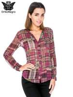 Fioletowa koszula damska w kratę                                  zdj.                                  1
