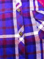 Fioletowa koszula w kratę z kieszonką z przodu                                  zdj.                                  7