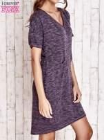 Fioletowa melanżowa sukienka z marszczeniem w pasie                                  zdj.                                  3