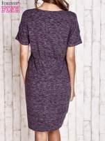 Fioletowa melanżowa sukienka z marszczeniem w pasie                                  zdj.                                  4