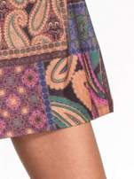 Fioletowa mini sukienka w patchworkowy wzór                                  zdj.                                  6