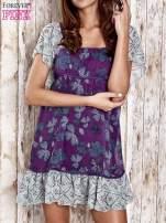 Fioletowa sukienka baby doll w kwiatki                                  zdj.                                  1