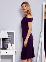 Fioletowa sukienka z dekoltem serce                                  zdj.                                  5