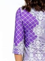 Fioletowa sukienka z koronkowym i kraciastym nadrukiem                                  zdj.                                  7