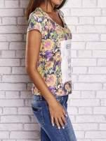 Fioletowy t-shirt w kwiaty z napisem BEFORE I EVER MET YOU                                  zdj.                                  3