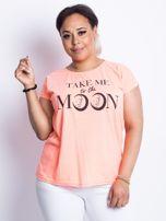 Fluo brzoskwiniowy t-shirt plus size Moonraker                                  zdj.                                  1