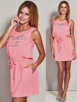Fluo różowa sukienka z troczkami                                  zdj.                                  1