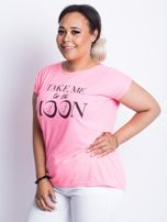 Fluo różowy t-shirt plus size Moonraker                                  zdj.                                  3