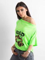 Fluo zielona bluzka z motywem zwierzęcym                                  zdj.                                  3