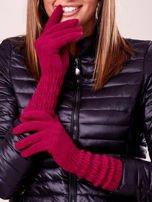 Fuksjowe długie rękawiczki z drapowanym rękawem                                  zdj.                                  1