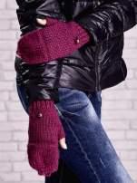 Fuksjowe rękawiczki bez palców z nakładaną górą na guzik                                  zdj.                                  2